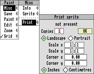 Screenshot of RISC OS menu open with print dialogue—taken from telcontar.net/Misc/GUI/RISCOS/