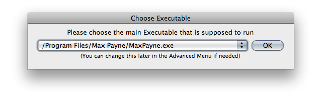 Screenshot of the 'Choose Executable' window with the choice '/Program Files/Max Payne/MaxPayne.exe' selected