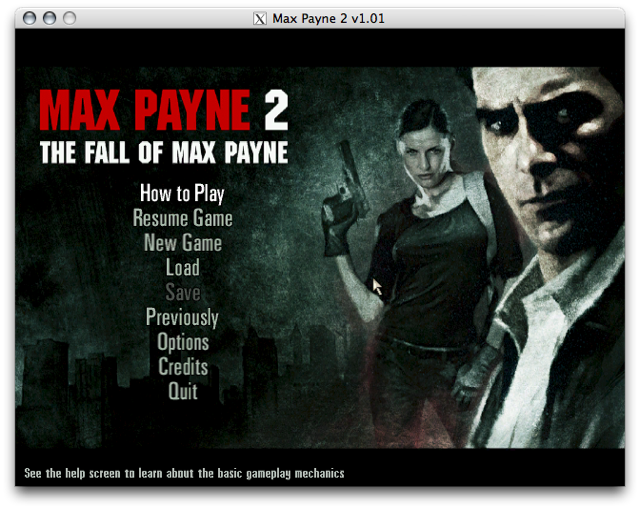 Screenshot of the Max Payne 2 title screen
