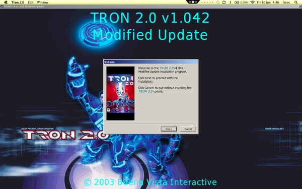 Screenshot of the 'TRON 2.0 v1.042 Modified Update' installer