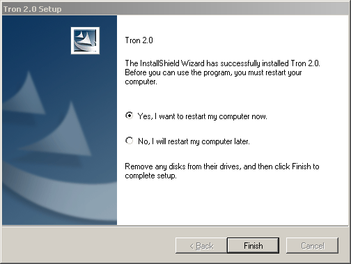Screenshot of the Tron 2.0 installer with two options, 'Yes, I want to restart my computer now' (selected) and 'No, I will restart my computer later'