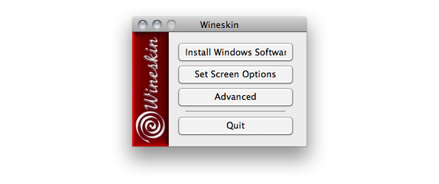 Screenshot of the Wineskin application