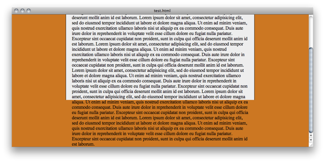 A page with lots of text, with the window scrolled down to show the text spilling over the edge of the page into the orange background